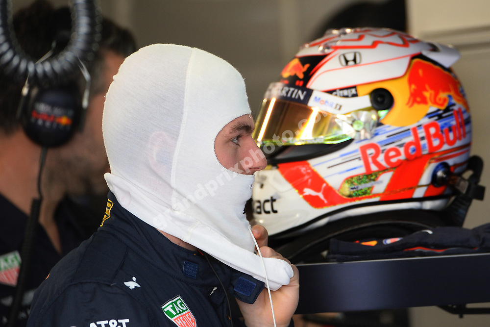 Max Vestappen (Red Bull-Honda) with his helmet and balaclava during practice for the 2019 Canadian Grand Prix in Montreal. Photo: Grand Prix Photo
