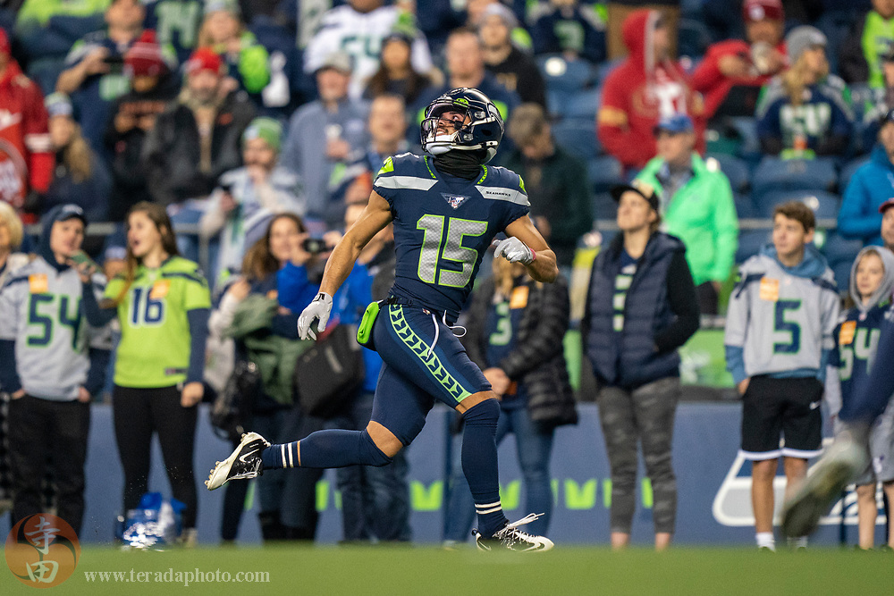 December 29, 2019; Seattle, Washington, USA; Seattle Seahawks wide receiver John Ursua (15) before the game against the San Francisco 49ers at CenturyLink Field.