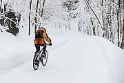 Man cycling in Snow covered Mont Royal Park in Winter, Parc du Mont Royal, Montreal, Quebec, Canada