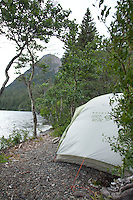 Camping on Chilko Lake. British Columbia, Canada.