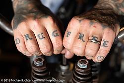 Hooligan racer Scott Jones shows off his knuckles at the RSD Moto Beach Classic. Huntington Beach, CA, USA. Saturday October 27, 2018. Photography ©2018 Michael Lichter.