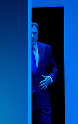 © London News Pictures. 23/09/2013 . Brighton, UK.   Shadow Chancellor of the Exchequer, ED BALLS arriving on stage to deliver a speech on the British economy on day two of the Labour Party Annual Conference in Brighton. Photo credit : Ben Cawthra/LNP