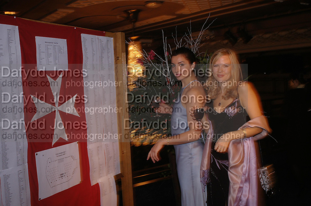 Arabella Whelan ( blue dress)  and Jessica Murphy. White Knights Ball, Grosvenor House Hotel 7 January 2005. ONE TIME USE ONLY - DO NOT ARCHIVE  © Copyright Photograph by Dafydd Jones 66 Stockwell Park Rd. London SW9 0DA Tel 020 7733 0108 www.dafjones.com