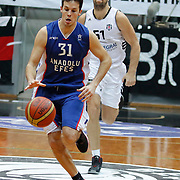 Anadolu Efes's Thomas Heurtel (F) during their Turkish basketball league match Besiktas integral Forex between Anadolu Efes at BJK Akatlar Arena in Istanbul, Turkey, Monday, January 05, 2015. Photo by TURKPIX
