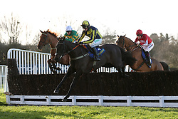 L-R: Jockey Barry Geraghty on Yanworth,  Nico de Boinville on Willoughby Court and Sam Twistor-Davies on Ballyandy during the Betbright Dipper Novices' Chase