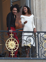 Luka Sabbat is seen with pretty model Tina Kunakey at the Dior dinner party in Paris, only hours before Luka was seen with Kaia Gerber laughing and joking, but at the Dior dinner Luka had another model in his sights as the couple were seen on an outside balcony together. 03 Jul 2018 Pictured: Luka Sabbat , Tina Kunakey. Photo credit: Neil Warner/MEGA TheMegaAgency.com +1 888 505 6342