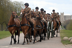 The King's Troop Royal Horse Artillery on the Long Walk, Windsor Castle, Berkshire, after taking part in a rehearsal for the funeral of the Duke of Edinburgh. Picture date: Thursday April 15, 2021.