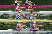 2004 FISA World Cup Regatta Lucerne Switzerland. 18.06.04..Photo Peter Spurrier..Start of the first heat of the Women's pair. Britain's [ Blue/White Suits] Kath Grainger [left] and Cath Bishop, move away from the start pontoon and racing through to gain a place in Sat's semi-final. Rowing Course, Lake Rottsee, Lucerne, SWITZERLAND. [Mandatory Credit: Peter Spurrier: Intersport Images]
