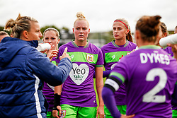 Lucy Graham of Bristol City, Danique Kerkdijk of Bristol City and Julie Biesmans of Bristol City listen to Tanya Oxtoby manager of Bristol City Women - Mandatory by-line: Ryan Hiscott/JMP - 14/10/2018 - FOOTBALL - Stoke Gifford Stadium - Bristol, England - Bristol City Women v Birmingham City Women - FA Women's Super League 1