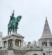 Eastern Europe, Hungary, Budapest, Statue of St Stephen (sv Istvan) by the Fishermen's Bastion by Halaszbastya on Castle Hill