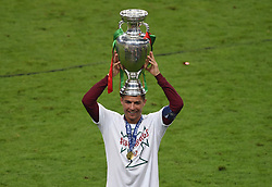 File photo dated 10-07-2016 of Portugal's Cristiano Ronaldo with the trophy after winning the UEFA Euro 2016 final at the Stade de France, Paris. Issue date: Tuesday June 1, 2021.