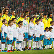 Brazil's players during their a international friendly soccer match Turkey betwen Brazil at Sukru Saracoglu Arena in istanbul November 12, 2014. Photo by Aykut AKICI/TURKPIX