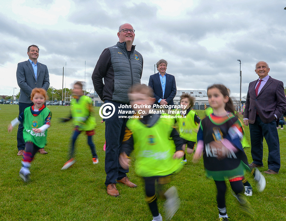 Nursery players run ring around Mick O'Dowd, Agri Business Development Manager,<br />  Kepak; Ronan O Doherty, Chairperson, St. Peters, Dunboyne; Simon Walker, CEO Kepak and St. Peters, Dunboyne Ambassador, Sean Boylan at the Dunboyne GFC new developement launch.  <br /> <br /> Photo: GERRY SHANAHAN-WWW.QUIRKE.IE<br /> <br /> 09-05-2021