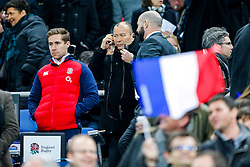England Head Coach Eddie Jones takes his seat up in the stands - Mandatory byline: Rogan Thomson/JMP - 19/03/2016 - RUGBY UNION - Stade de France - Paris, France - France v England - RBS 6 Nations 2016.