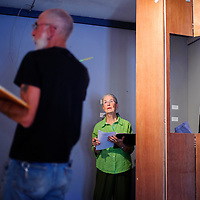 """071014       Cable Hoover<br /> <br /> Carol McRae listens to notes from director Eden Gloria during rehearsal for the play """"Broadway at the Rocco"""" Thursday at the Old School Gallery in El Morro."""
