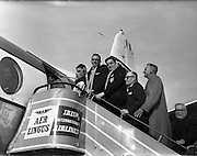 Captain Bill Mulcahy and former captain Ronnie Dawson boarding the plane,..Irish Rugby Football Union, Irish team departs Dublin Airport for Twickenham, Dublin, Ireland, 8th February, 1962,.8.2.1962, 2.8.1962,