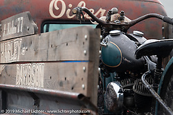 Josh Kohn's truck with his 1942 Harley-Davidson 45 inch Beach Racer (mixed parts & years) in the back after a day of racing at TROG (The Race Of Gentlemen). Wildwood, NJ. USA. Saturday June 9, 2018. Photography ©2018 Michael Lichter.
