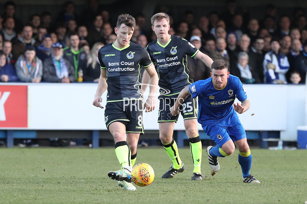 AFC Wimbledon striker Cody McDonald (10) chasing down the ball during the EFL Sky Bet League 1 match between AFC Wimbledon and Bristol Rovers at the Cherry Red Records Stadium, Kingston, England on 17 February 2018. Picture by Matthew Redman.