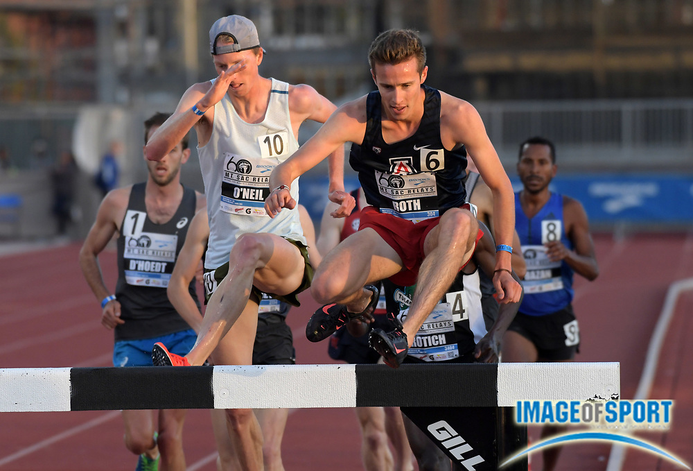Apr 20, 2018; Torrance, CA, USA; Bailey Roth of Arizona hurdles a barrier in the invitational steeplechase during the 60th Mt. San Antonio College Relays at Murdock Stadium.