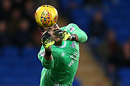 Cardiff city goalkeeper Neil Etheridge makes a save. EFL Skybet championship match, Cardiff city v Ipswich Town at the Cardiff city stadium in Cardiff, South Wales on Tuesday 31st October 2017.<br /> pic by Andrew Orchard, Andrew Orchard sports photography.