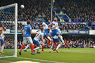 Portsmouth Forward, Oliver Hawkins (9) with a header at goal during the EFL Sky Bet League 1 match between Portsmouth and Rochdale at Fratton Park, Portsmouth, England on 13 April 2019.