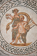 Picture of a Roman mosaics design depicting scenes from the Life of Dionysus, In this mosic medallion Sienus is carrying a lyre, from the ancient Roman city of Thysdrus, House of Silenus. Late 2nd to early 3rd century AD. El Djem Archaeological Museum, El Djem, Tunisia.<br /> <br /> In this mosic medallion Sienus is carrying a lyre .<br /> <br /> If you prefer to buy from our ALAMY PHOTO LIBRARY  Collection visit : https://www.alamy.com/portfolio/paul-williams-funkystock/roman-mosaic.html  . Type -   El Djem   - into the LOWER SEARCH WITHIN GALLERY box. Refine search by adding background colour, place, museum etc<br /> <br /> Visit our ROMAN MOSAIC PHOTO COLLECTIONS for more photos to download  as wall art prints https://funkystock.photoshelter.com/gallery-collection/Roman-Mosaics-Art-Pictures-Images/C0000LcfNel7FpLI