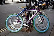 Fixed wheel bicycles also known as a fixie are a common site especially in East London, where they have become incredibly fashionable. The simple single gear system is complimented by colour combinations of the frame and wheels, often in flourescent colours.