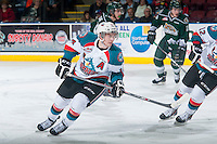 KELOWNA, CANADA - JANUARY 23: Rourke Chartier #14 of Kelowna Rockets skates against the Everett Silvertips on January 23, 2015 at Prospera Place in Kelowna, British Columbia, Canada.  (Photo by Marissa Baecker/Shoot the Breeze)  *** Local Caption *** Rourke Chartier;