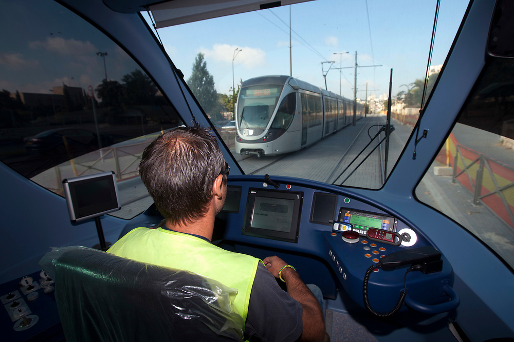 A general view of the driver's cabin of the Jerusalem Light Rail, during a ride with 1st-graders on their way to attend their first day of school in Jerusalem, September 1, 2010.