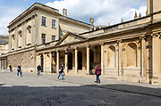 Entrance to Pump Rooms from Stall Street, Bath, Somerset, England, UK