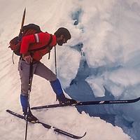 Allan Pietrasanta skis the Mount Humphreys Glacier in the Sierra Nevada above Bishop, CA