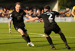 Port Vale's Tom Conlon (left) celebrates with James Gibbons after scoring his side third goal of the game during the Sky Bet League Two match at Borough Sports Ground, Sutton. Picture date: Saturday October 9, 2021.