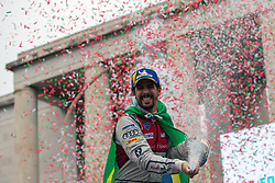April 14, 2018 - Rome, RM, Italy - Lucas Di Grassi of Audi Sport celebrate the 2nd place of the Rome E-Prix Round 7 as part of the ABB FIA Formula E Championship on April 14, 2018 in Rome, Italy. (Credit Image: © Danilo Di Giovanni/NurPhoto via ZUMA Press)