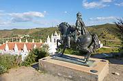 Sculpture horse and rider statue Ibn Caci Moorish prince and poet, village of Mertola, Baixo Alentejo, Portugal