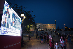 May 26, 2019 - Athens, Greece - A huge screen seen infront of the Greek Parliament at an electoral kiosk during the first results of exit poll in the centre of Athens. (Credit Image: © Nikolas Joao Kokovlis/SOPA Images via ZUMA Wire)