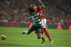 January 3, 2018 - Lisbon, Portugal - Benfica's midfielder Ljubomir Fejsa (R) vies with Sporting's forward Gelson Martins during the Portuguese League  football match between SL Benfica and Sporting CP at Luz  Stadium in Lisbon on January 3, 2018. (Credit Image: © Carlos Costa/NurPhoto via ZUMA Press)