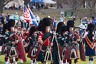 West Point, New York - The Rochester Scottish Pipes and Drums perform at the 32nd annual West Point Military Tattoo at Trophy Point at the United States Military Academy on April 13, 2014.
