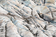 Crevasses in Mendenhall Glacier. Juneau, Alaska, USA. For spectacular views over Mendenhall Glacier, hike the West Glacier (Mt. McGinnis) Trail 6-9.5 miles round trip, 1000-3200 feet gain, best late May-September. The Trailhead is a half mile from Mendenhall Campground entrance by road. A good trail skirts the northwest side of Mendenhall Lake then climbs through forest to the bare rock along the glacier's west side, where some scrambling and route finding skills are required. Mendenhall Glacier flows 12 miles from downtown Juneau. Mendenhall Glacier Recreation Area is a unit of Tongass National Forest. Mendenhall Glacier has retreated 1.75 miles since 1929, when Mendenhall Lake was created, and over 2.5 miles (4.0 km) since 1500. Since the mid 1900s, Alaska has warmed 3 degrees Fahrenheit and its winters have warmed nearly 6 degrees. Human-caused climate change induced by emissions of greenhouse gases continues to accelerate the warming of Alaska at an unprecedented rate. Climate change is having disproportionate effects in the Arctic, which is heating up twice as fast as the rest of Earth.
