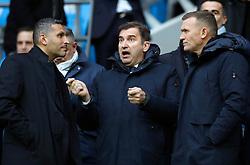 Khaldoon Al Mubarak (left) and Ferran Soriano (centre) ahead of the match during the Premier League match at the Etihad Stadium, Manchester.