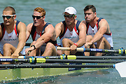 Munich, GERMANY,    Friday Heats GBR M8+. at the start, right to left -  Bow, Greg SEARLE, Alex PARTRIDGE, Marcus BATEMAN,  Mo SBIHI, 2012 World Cup III on the Munich Olympic Rowing Course,  Friday   15/06/2012. [Mandatory Credit Peter Spurrier/ Intersport Images]..