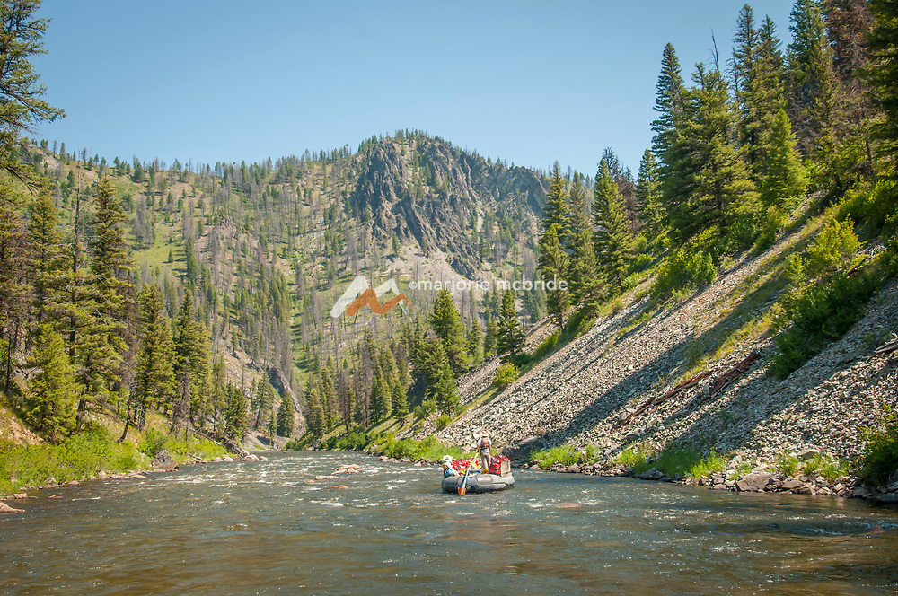 Scenic view of sweep boat on the Middle Fork of the Salmon River.