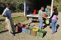 "The mobile ""Supermarket"" visit the village. Lesser Lake Prespa, Lake Prespa National Park, Albania June 2009"