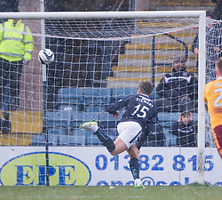 Dundee's Greg Stewart scoring their second goal. <br /> Dundee 4 v 1 Motherwell, SPFL Premiership played 10/1/2015 at Dundee's home ground Dens Park.
