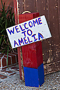 Welcome sign to Amelia Island in the historic district of Fernandina Beach, Florida