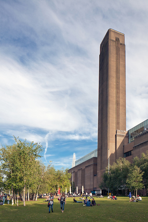 Tate Modern, London with Shard in Background. Shot for marketing brochure. Canon 5d MKII. 24mm TSL. 1/100 f13.