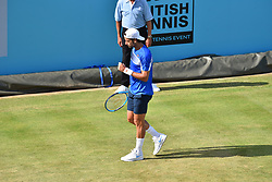 June 19, 2018 - London, England, United Kingdom - Spain's Feliciano Lopez reacts to David Goffin of Belgium during their first round men's singles match at the ATP Queen's Club Championships tennis tournament in west London on June 19, 2018. (Credit Image: © Alberto Pezzali/NurPhoto via ZUMA Press)