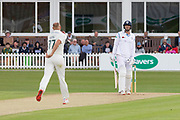 Dieter Klein bowling to Billy Godleman during the Specsavers County Champ Div 2 match between Leicestershire County Cricket Club and Derbyshire County Cricket Club at the Fischer County Ground, Grace Road, Leicester, United Kingdom on 28 May 2019.