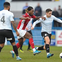 TELFORD COPYRIGHT MIKE SHERIDAN Adam Walker of Telford is hauled back by Shep Murombedzi of Brackley during the Vanarama Conference North fixture between AFC Telford United and Brackley Town at the New Bucks Head on Saturday, January 4, 2020.<br /> <br /> Picture credit: Mike Sheridan/Ultrapress<br /> <br /> MS201920-039