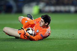 March 14, 2018 - Barcelona, Spain - THIBAUT COURTOIS of Chelsea FC during the UEFA Champions League, round of 16, 2nd leg football match between FC Barcelona and Chelsea FC on March 14, 2018 at Camp Nou stadium in Barcelona, Spain (Credit Image: © Manuel Blondeau via ZUMA Wire)