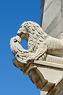 Close up of a13th century Romaesque sculpture of a Lion of the Cattedrale di San Martino,  Duomo of Lucca, Tunscany, Italy, .<br /> <br /> Visit our ITALY PHOTO COLLECTION for more   photos of Italy to download or buy as prints https://funkystock.photoshelter.com/gallery-collection/2b-Pictures-Images-of-Italy-Photos-of-Italian-Historic-Landmark-Sites/C0000qxA2zGFjd_k<br /> If you prefer to buy from our ALAMY PHOTO LIBRARY  Collection visit : https://www.alamy.com/portfolio/paul-williams-funkystock/lucca.html .<br /> <br /> Visit our ITALY HISTORIC PLACES PHOTO COLLECTION for more   photos of Italy to download or buy as prints https://funkystock.photoshelter.com/gallery-collection/2b-Pictures-Images-of-Italy-Photos-of-Italian-Historic-Landmark-Sites/C0000qxA2zGFjd_k<br /> <br /> <br /> Visit our MEDIEVAL PHOTO COLLECTIONS for more   photos  to download or buy as prints https://funkystock.photoshelter.com/gallery-collection/Medieval-Middle-Ages-Historic-Places-Arcaeological-Sites-Pictures-Images-of/C0000B5ZA54_WD0s